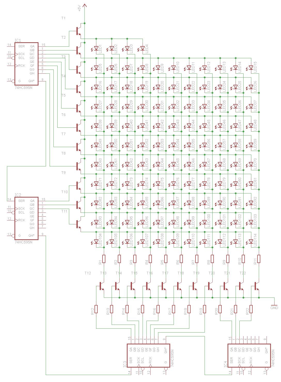 led matrix mit transistoren widerst nde richtig. Black Bedroom Furniture Sets. Home Design Ideas