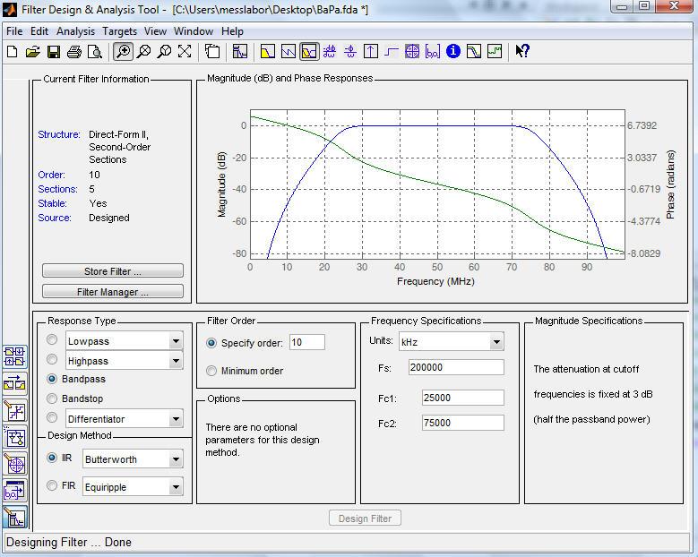 Bandpass Filter erstellen in Matlab (mit Gruppenlaufzeit