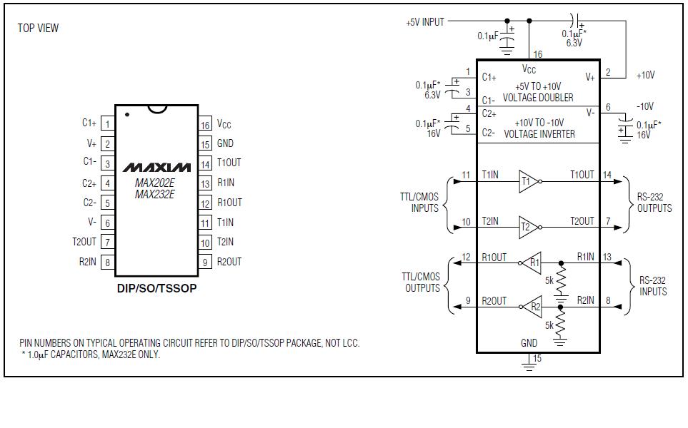 MAX232 схема включения.