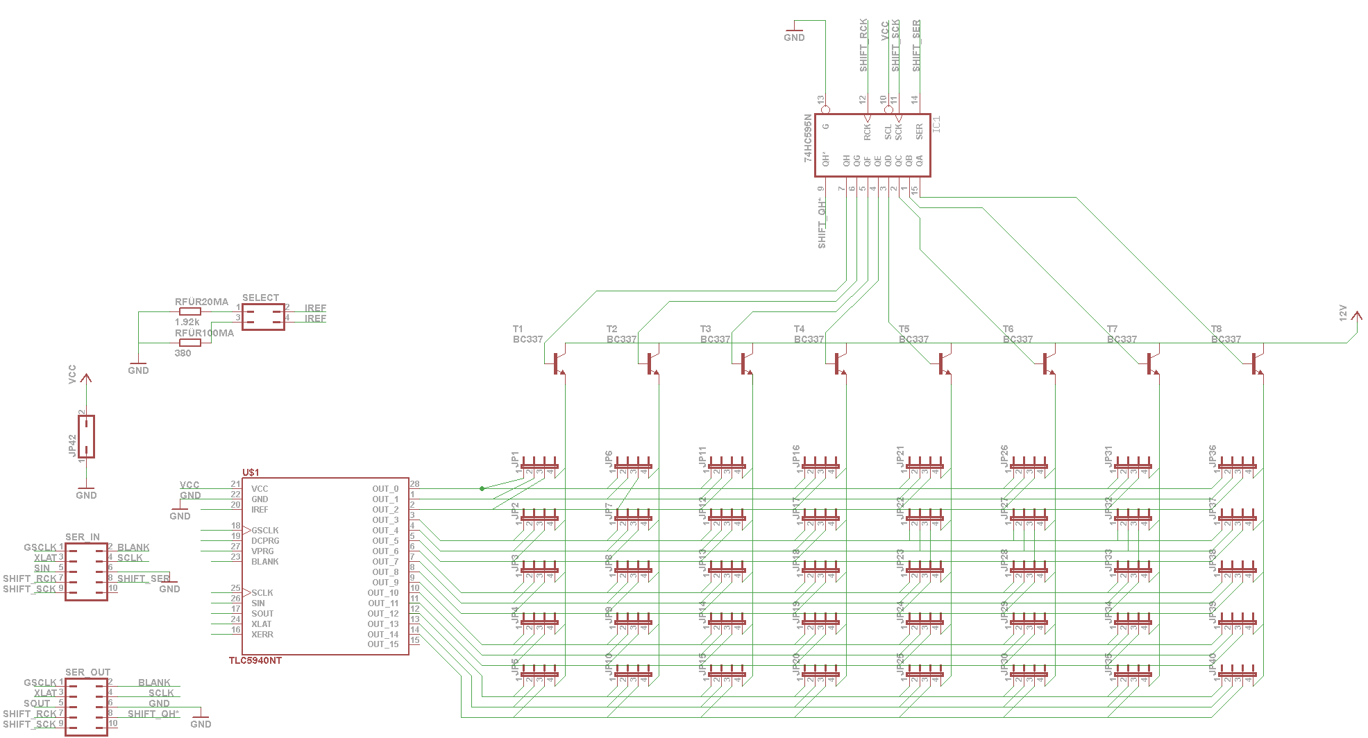Led Array Multiplex Mit Tlc5940 Schematic For The Ledmatrix Showing 4x5 Matrix Ledarray