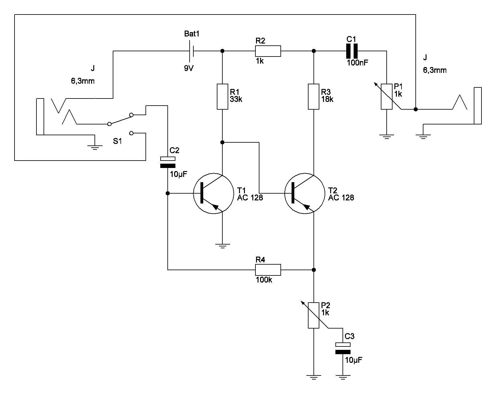 Fuzzface-Schaltung Bypass-Schalter - Mikrocontroller.net