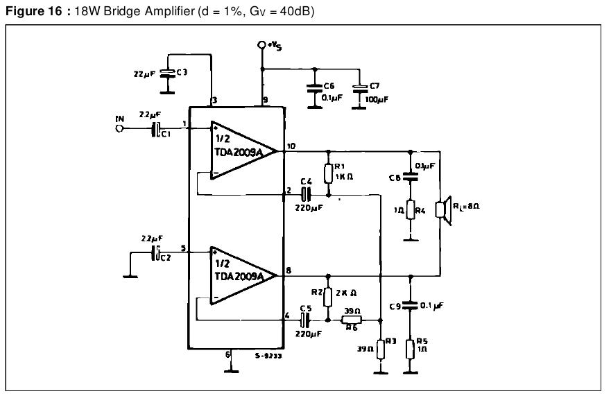 Схема мостового УНЧ TDA2009.