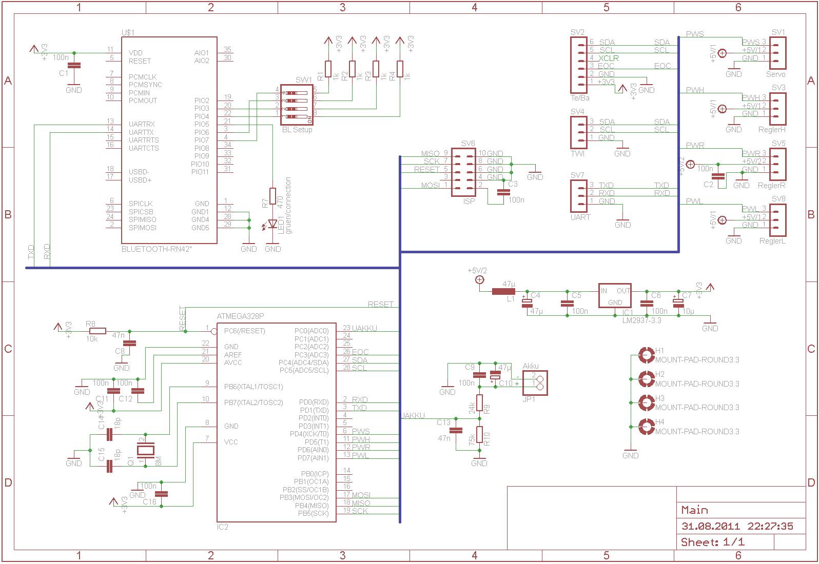 Принципиальная схема тестера atmega32