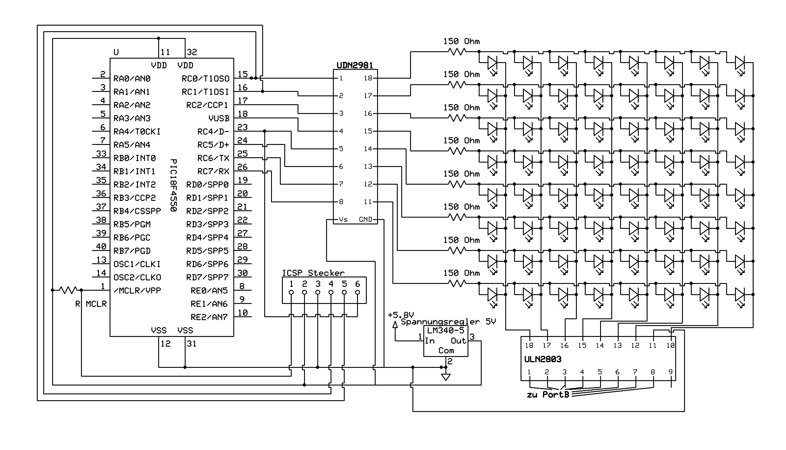 Schaltplan für LED Matrix überprüfen - Mikrocontroller.net