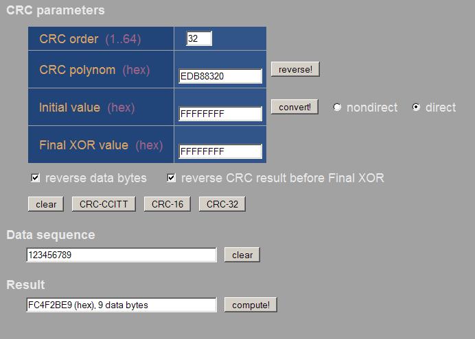 CRC8 und CRC32 in C - Mikrocontroller net