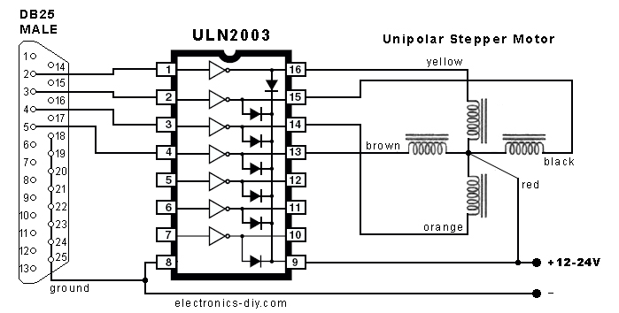 Uln Control Stepper Motor By Parallel Port on 12v Led Circuit Diagram