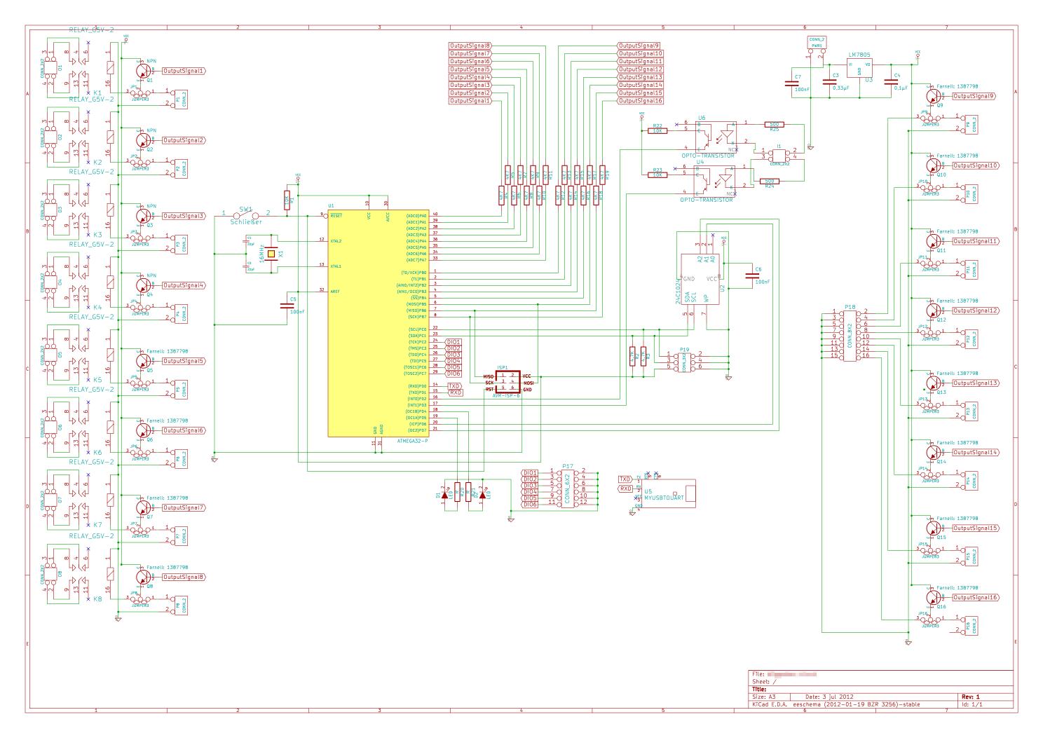 AVR Controllerboard (16 TTL Ausgänge, 8 Relais, 2 Eingänge, ROM, I²C ...