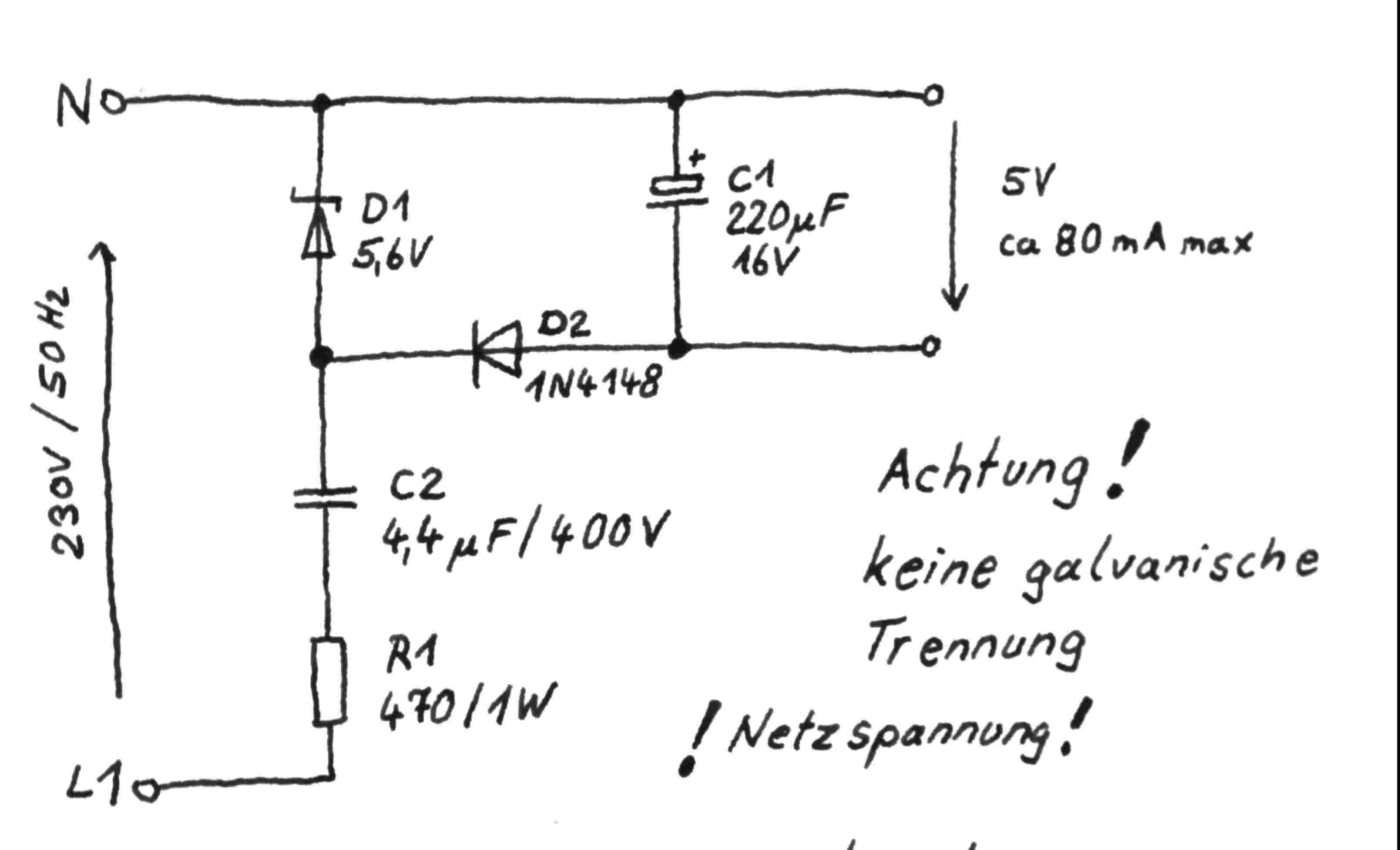 230v 5v 100ma Spannungsversorgung Ohne Trafo