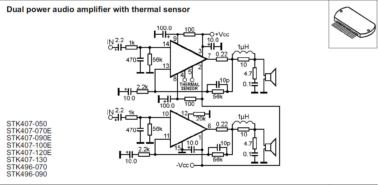 Stk407 090e Verwenden Um Einen Verstrker Zu Bauen 20w Audio Amplifier Circuit Using Stk0025 Preview Image For