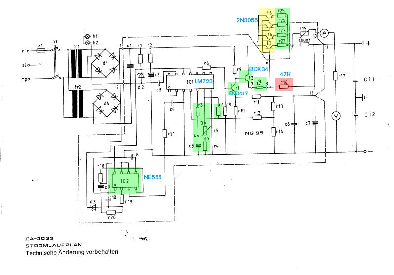 Altes LM723 Netzteil(0-20V/20A): Fehlersuche - Mikrocontroller.net