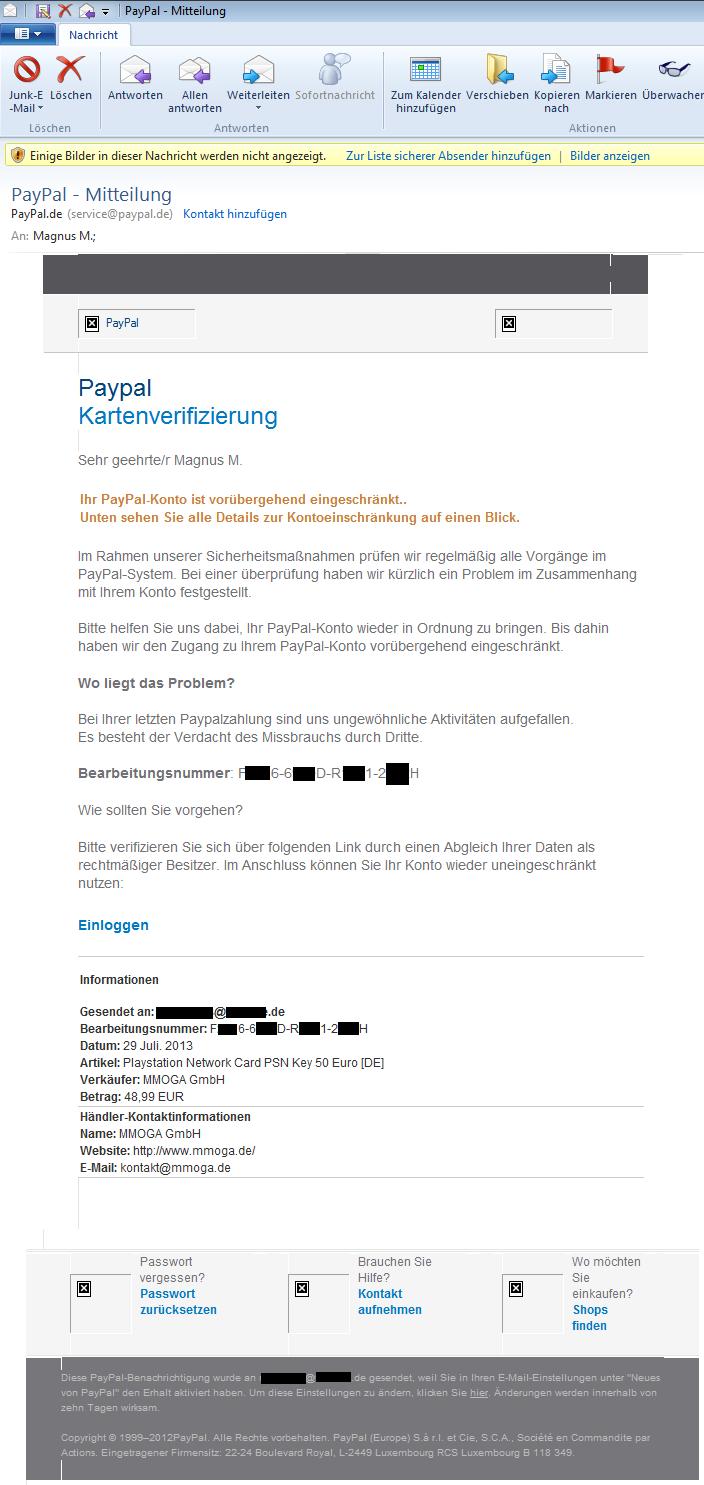 Paypal Verifizieren Mail