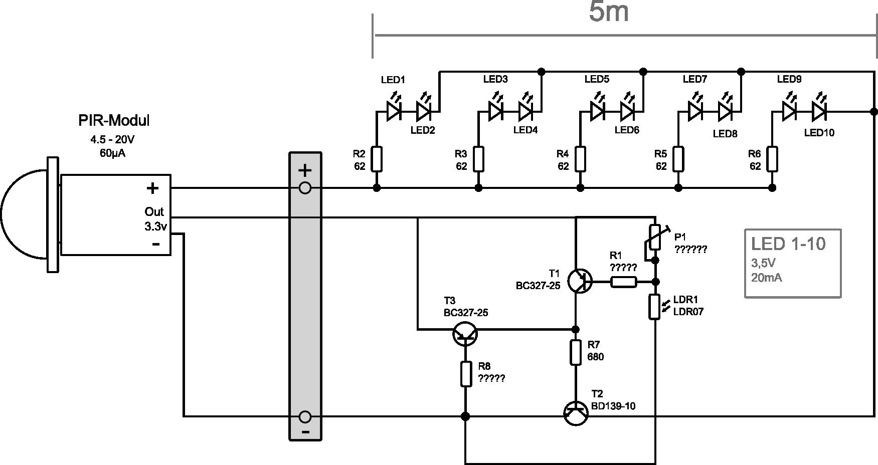 Lichtleiste mit Infrarotmodul, Lichtabhängig - Mikrocontroller.net