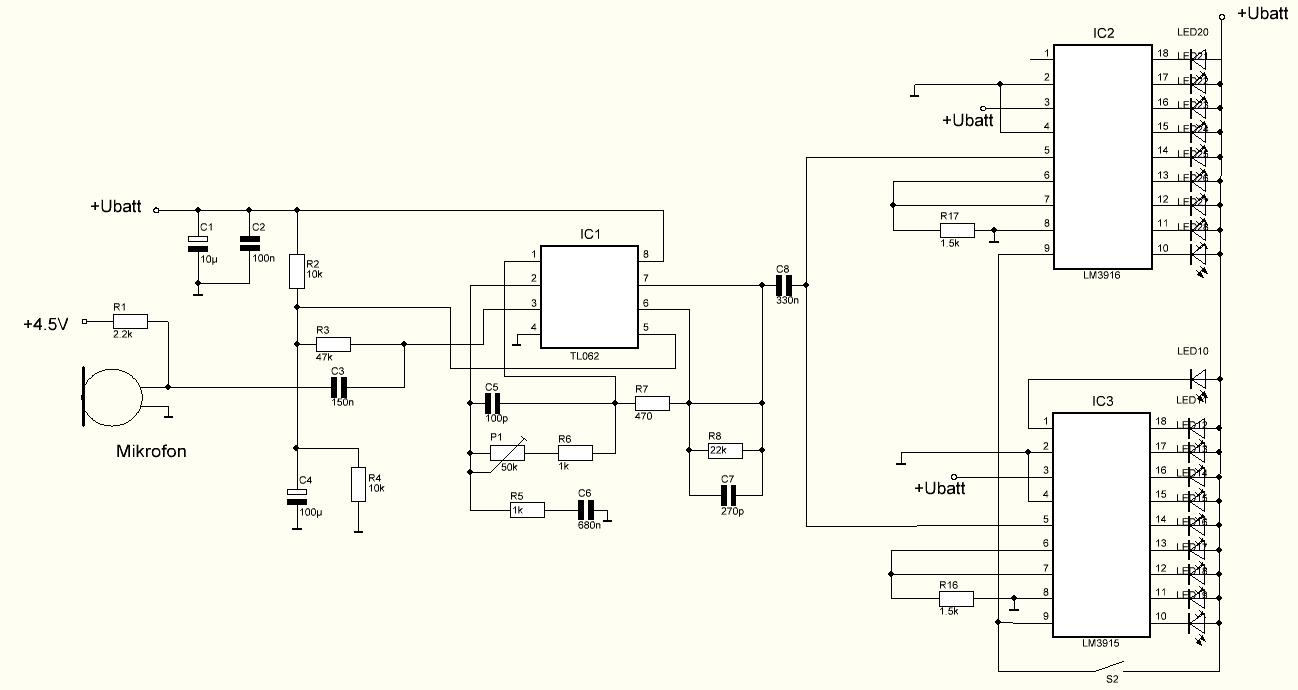 Mikrofon Mikrofonvorverstrker Tl062 Lm3915 Lm3916 Vu Meter Using A Circuit Diagram Preview Image For Laermampel V20