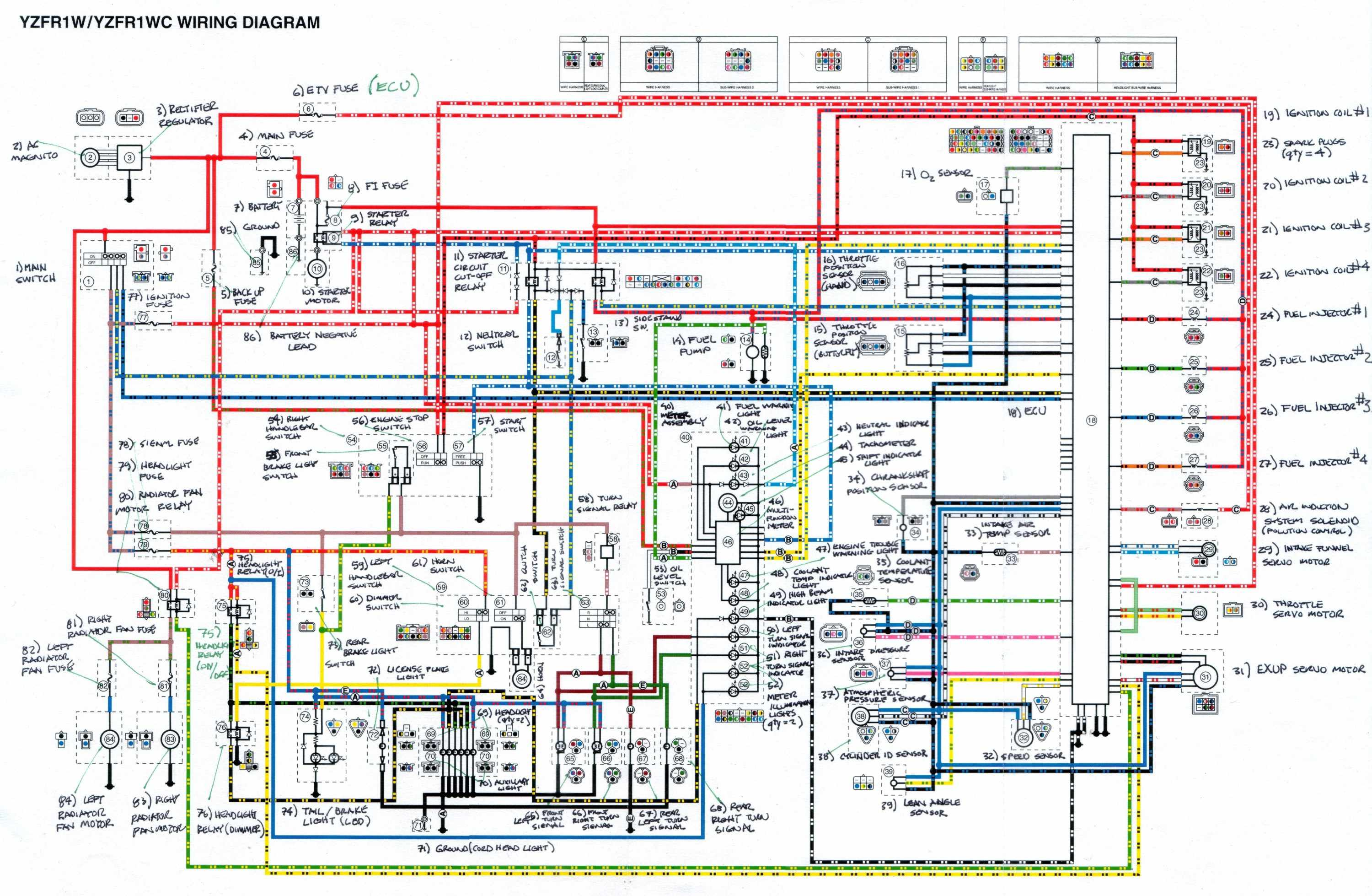 Complete Electrical Wiring Diagram Of Yamaha Yzf R