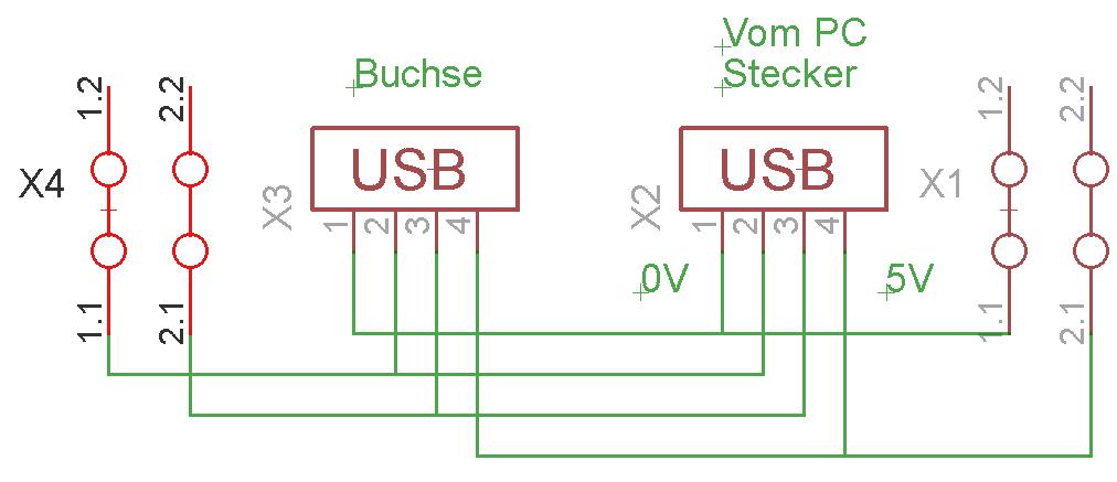 Platine mit USB-A-Stecker und USB-A-Buchse richtig verdrahten ...