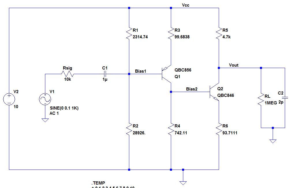 2-Stufiger BJT Verstärker ist nicht temperaturstabil ...