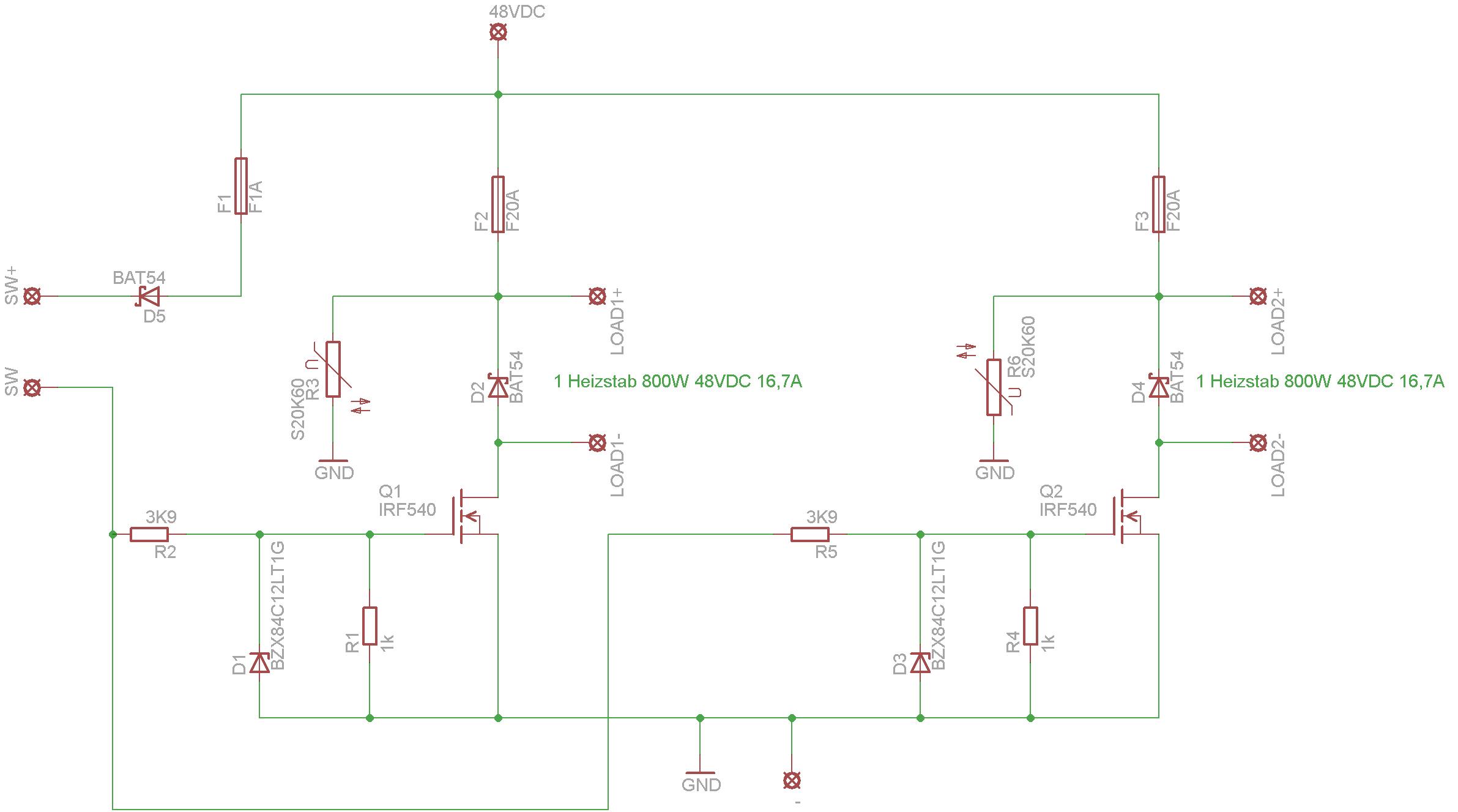 48V 17A mit Mosfet schalten -> Schaltung so korrekt ...