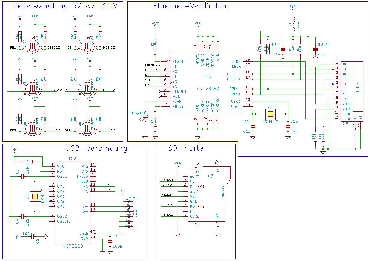 ATMega128 an Ethernet, USB & SD-Karte anschließen (Schaltplan ...