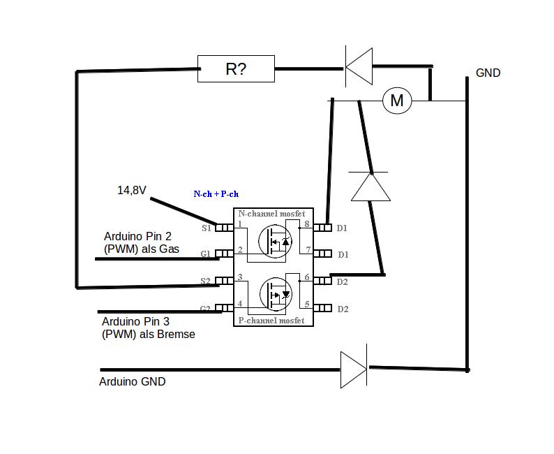 Aduino Motor mit MOSFET ansteuern + Bremse - Mikrocontroller.net