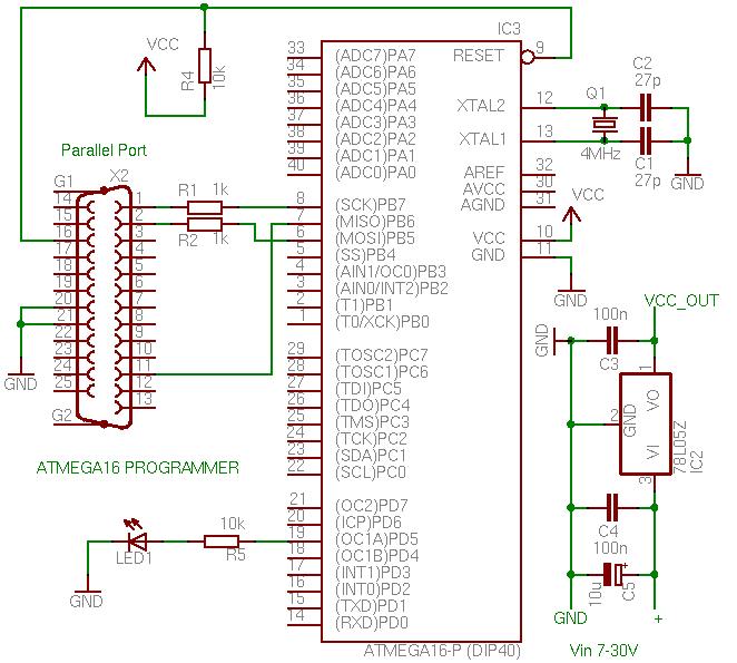 Изменено: IIuIIa, 03 Октябрь 2009 - 16:08.  А я вот какую схему программатора нашел для AVR Atmega16 может.