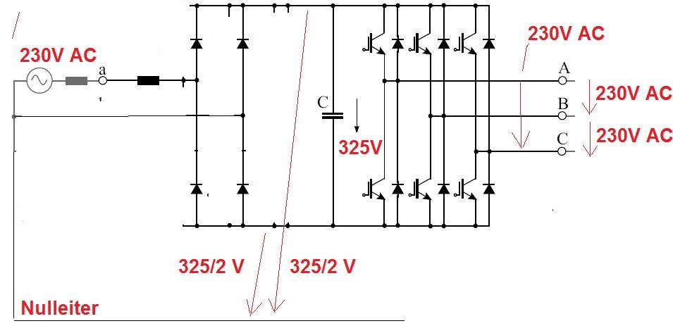 Frequenzumrichter 1Phasen-Wechselstrom auf Drehstrom ...