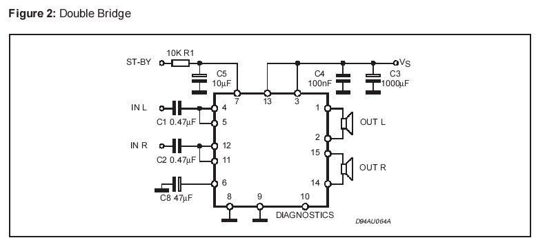 tda 7375 в мостовой схеме.