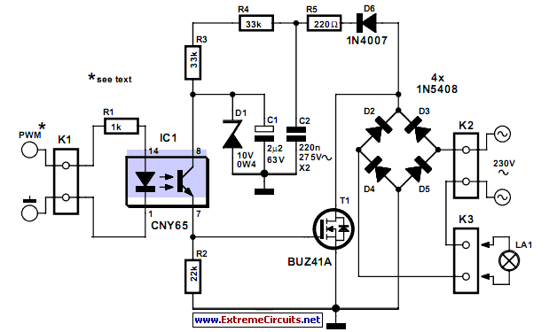 m Mosfet Dimmer on 1 watt led driver circuit