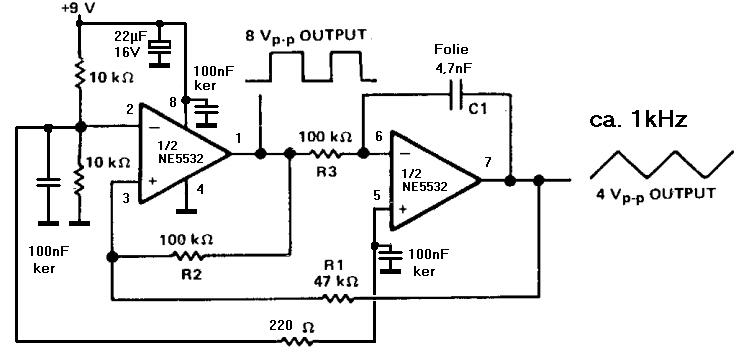 suche Schaltplan für einfachen Dreieck-Generator 1kHz ...