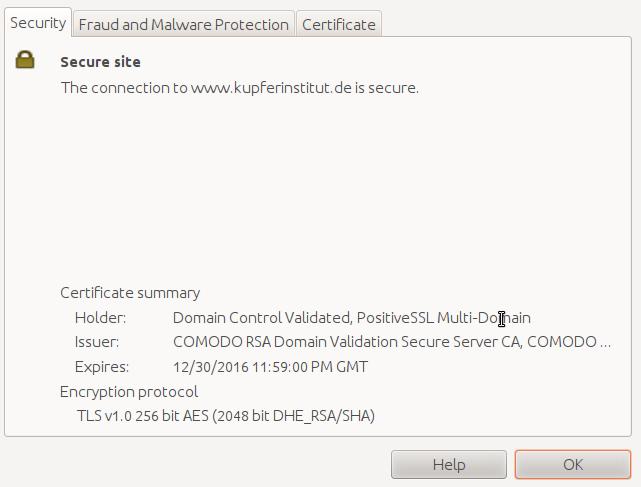 Seite des Deutschen Kupferinstitut Firefox misstraut der Seite ...