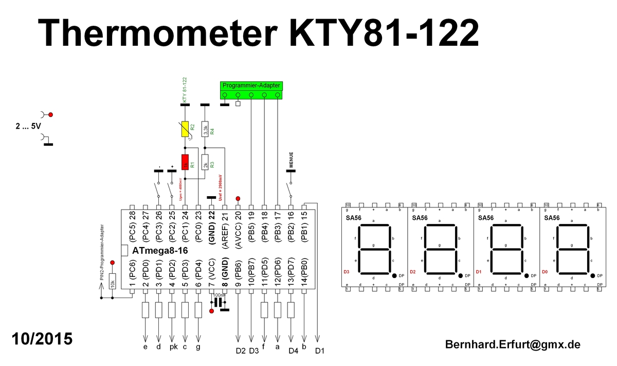 KTY81-121 KTY81-122 Temperatursensor / Thermometer LED 0,5°C ...