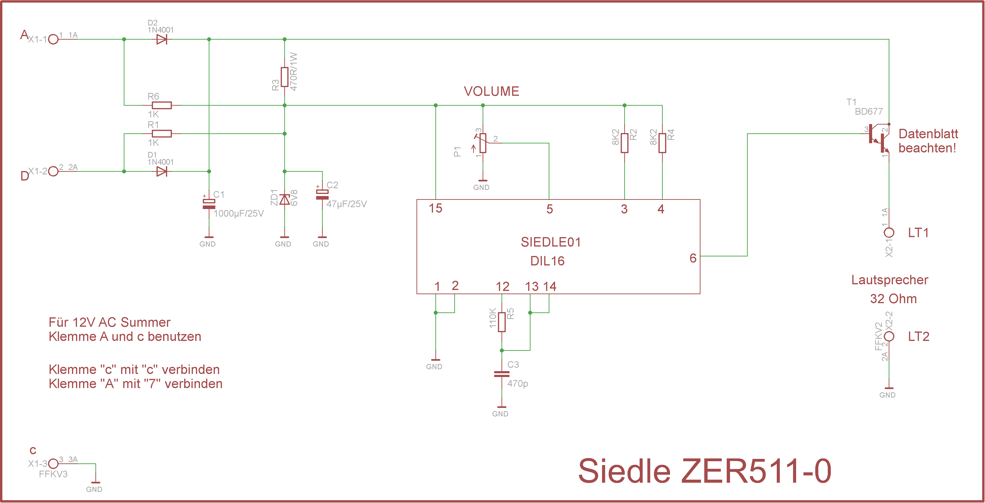 siedle schaltplan zer511 0. Black Bedroom Furniture Sets. Home Design Ideas