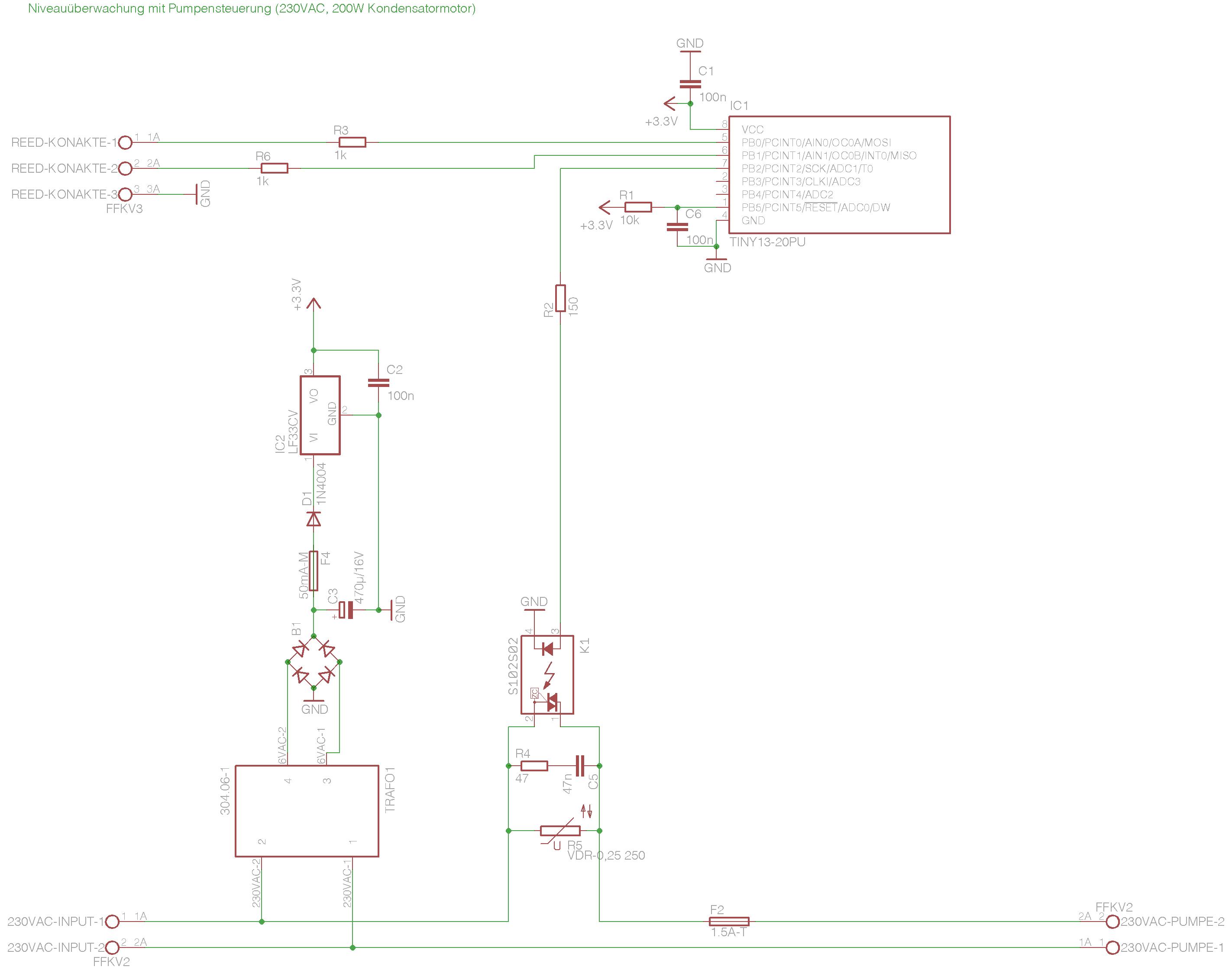 Niveauüberwachung mit Pumpensteuerung - Mikrocontroller.net