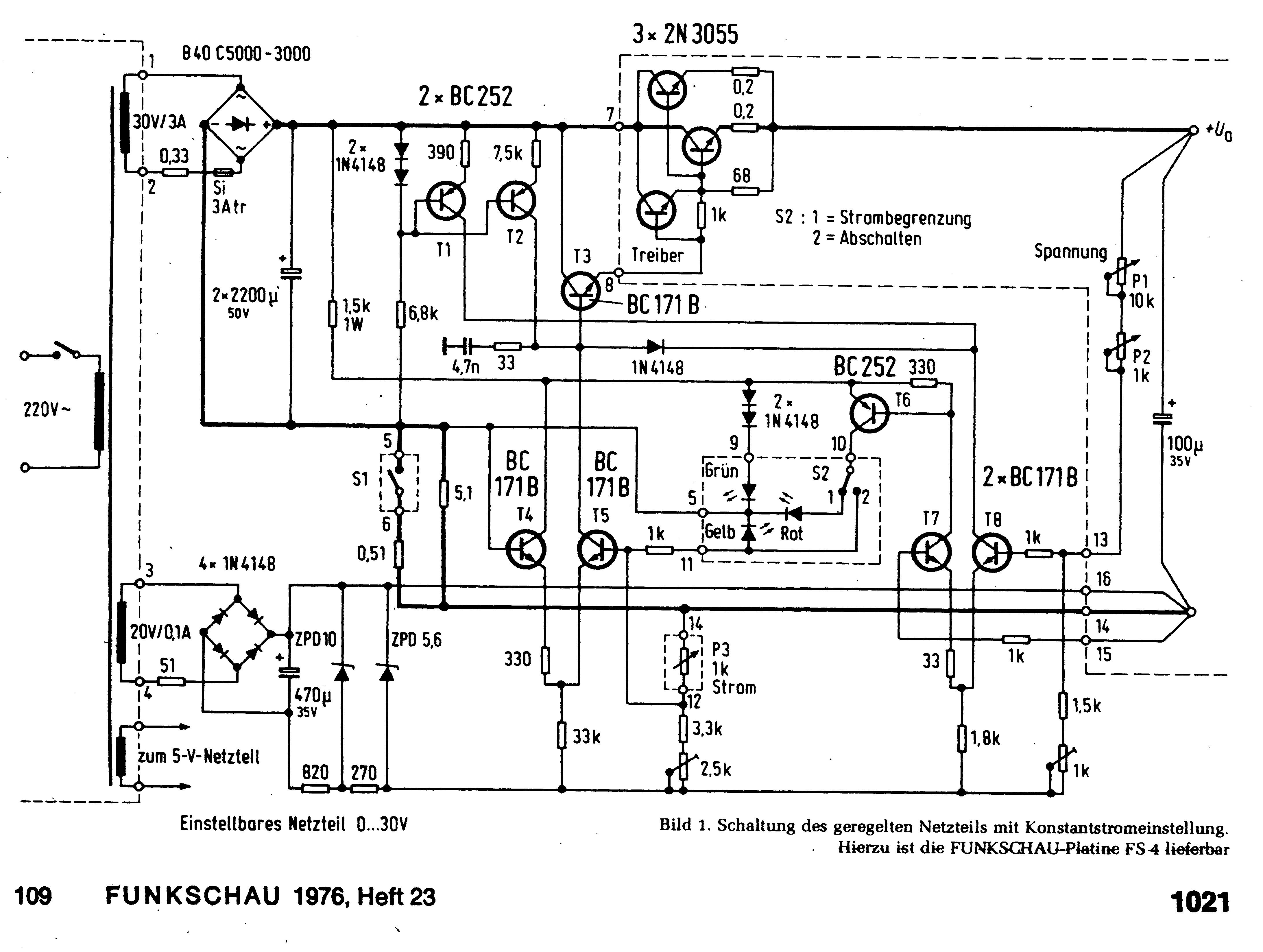 labornetzteil funkschau 1976 heft 23