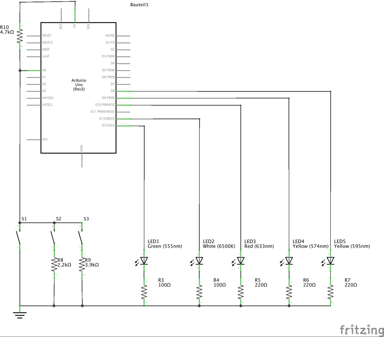 arduino uno taster und 3 leds. Black Bedroom Furniture Sets. Home Design Ideas