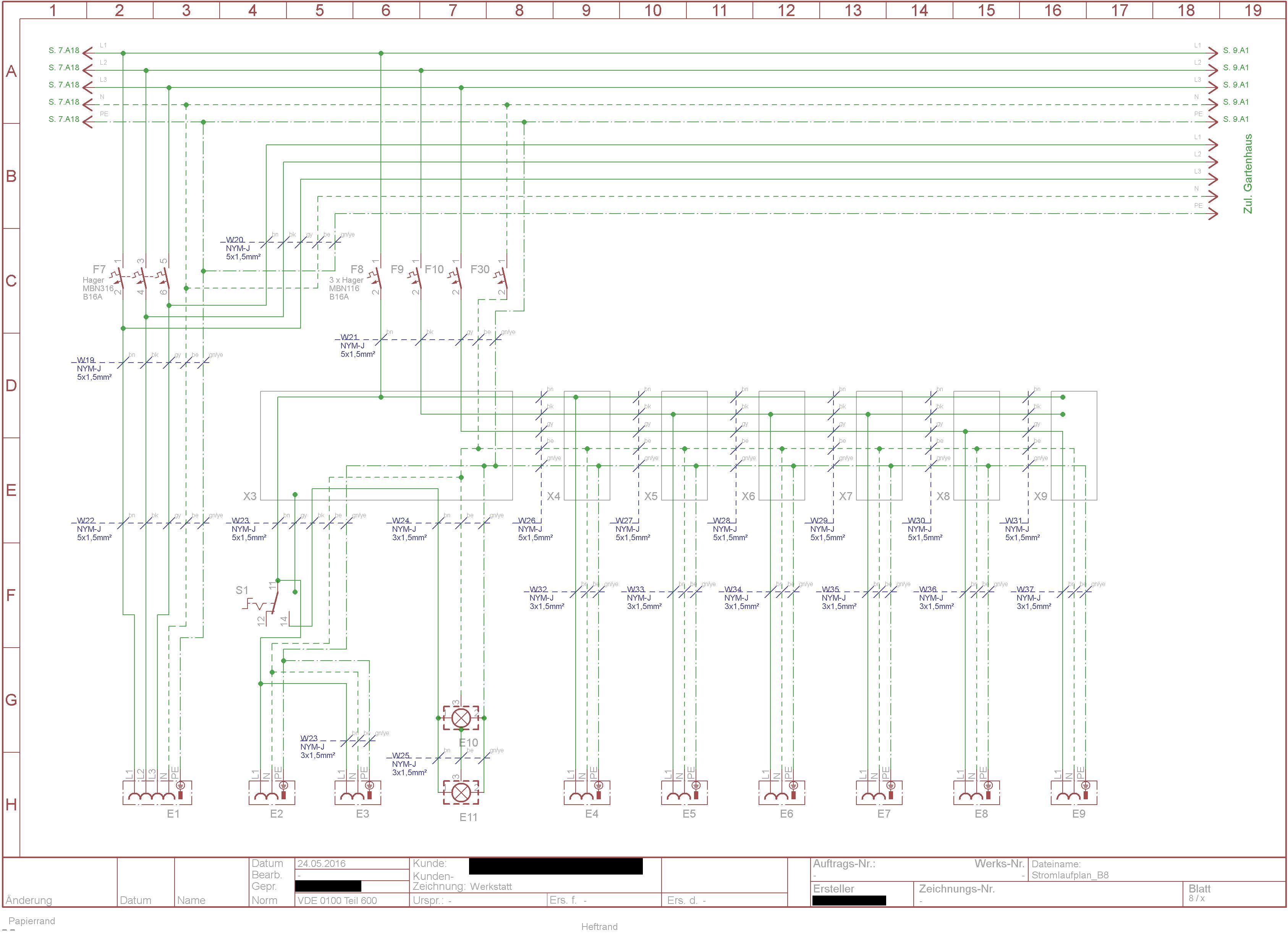 5x1 5 - 3 stromkreise in einer abzeigdose -  u00dcberlast n