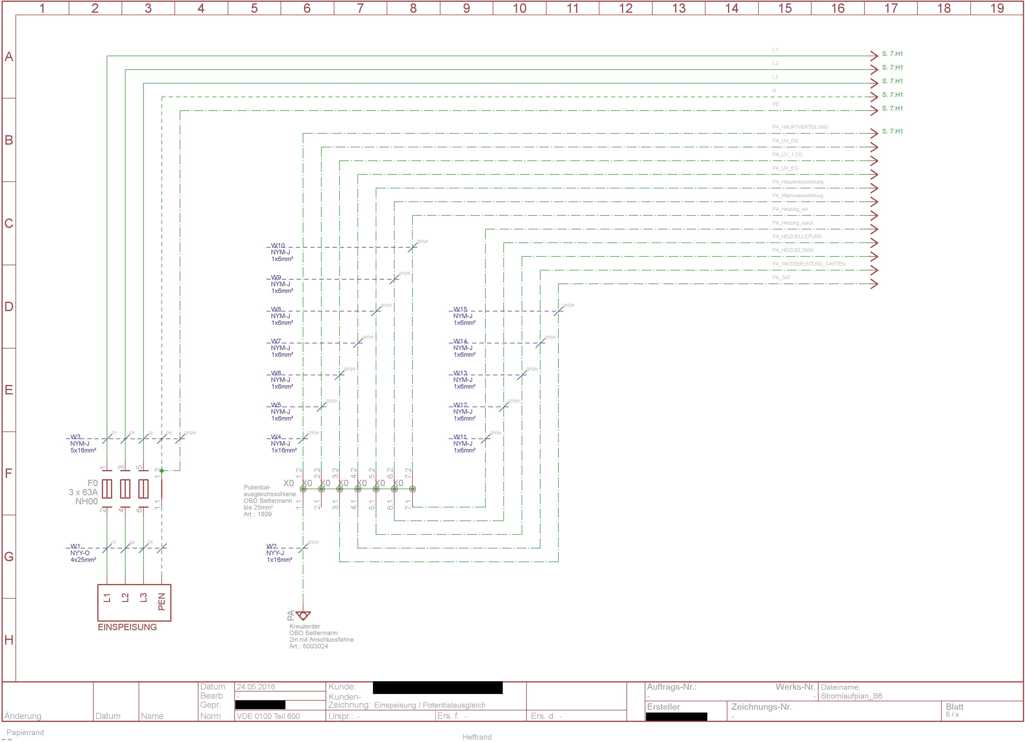 5x1,5 - 3 Stromkreise in einer Abzeigdose - Überlast N ...
