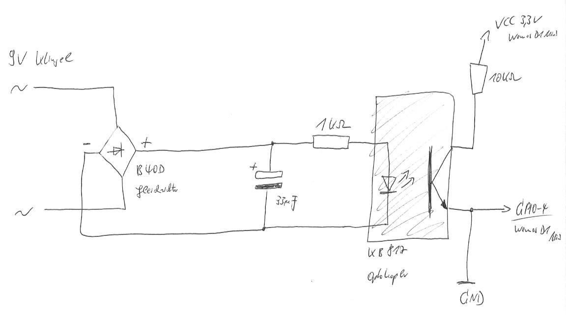 klingel mit gleichrichter und optokopler f r wemos d1 mini auswerten. Black Bedroom Furniture Sets. Home Design Ideas