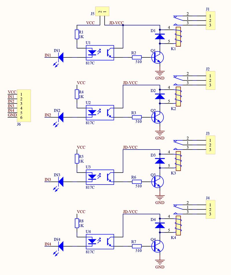 Arduino UNO an 4fach Relais  Mikrocontroller