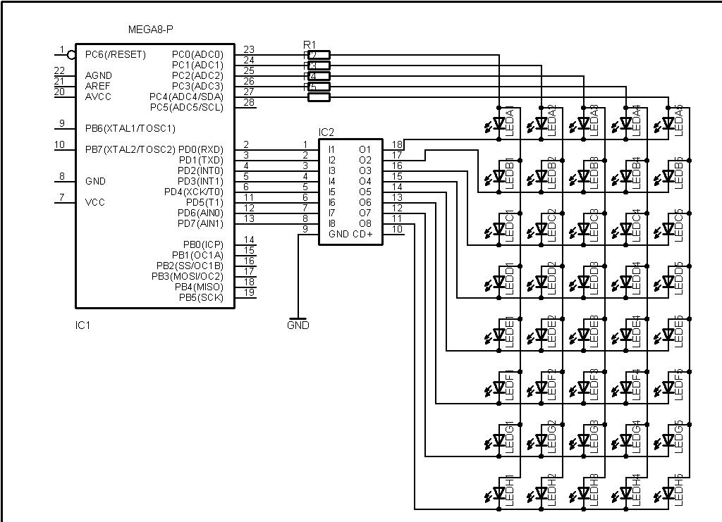 Led Matrix on Led Driver Circuit Schematic