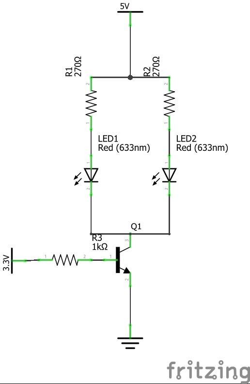raspberry pi led 39 s via transistor schalten richtig dimensioniert. Black Bedroom Furniture Sets. Home Design Ideas