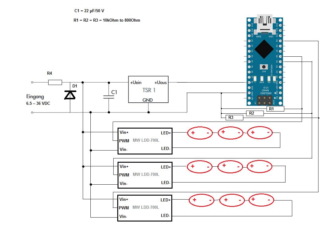 Arduino mit 24V versorgen und High Power LEDs steuern ...