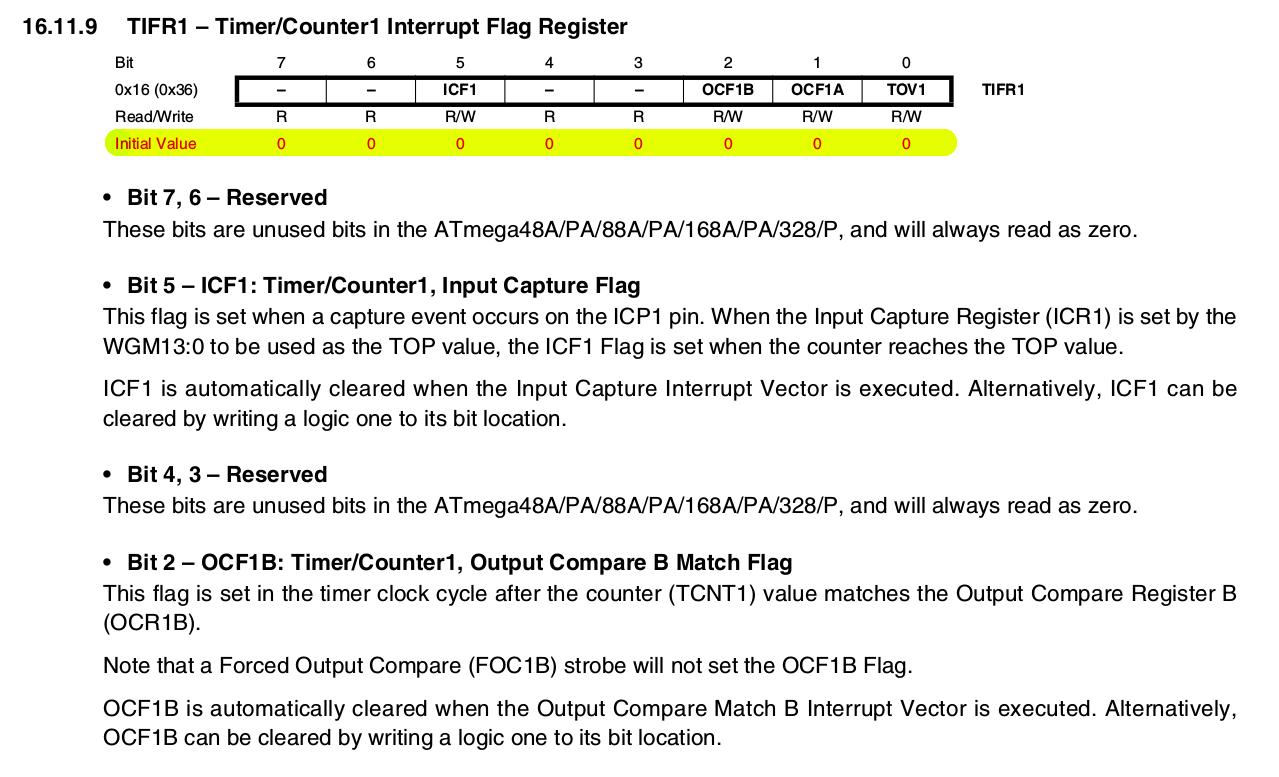 Arduino (Atmega328P) Timer overflow mit polling