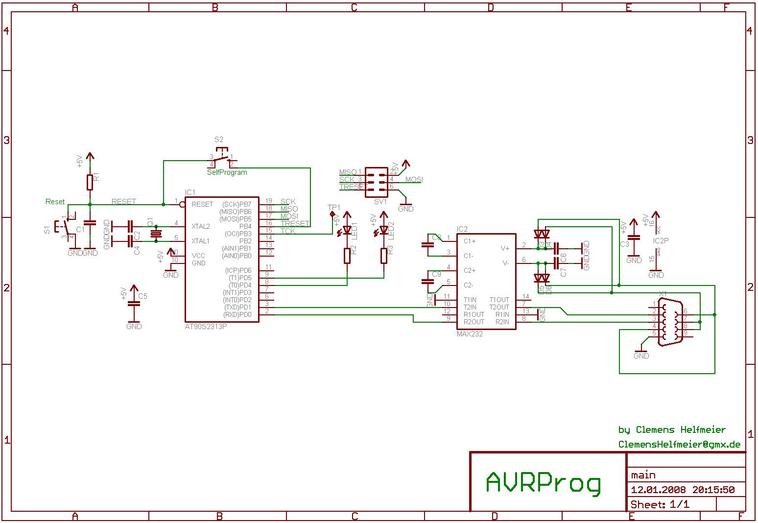 AVR910 Programmer, Schaltplan, Layout, Firmware - Mikrocontroller.net