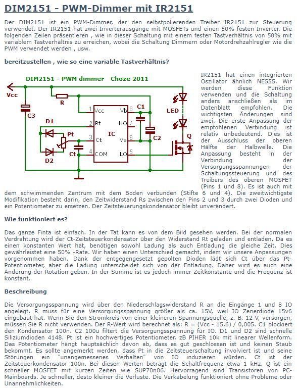 PWM / Regelschleife mit IR2151 oder ähnlichen HVICs