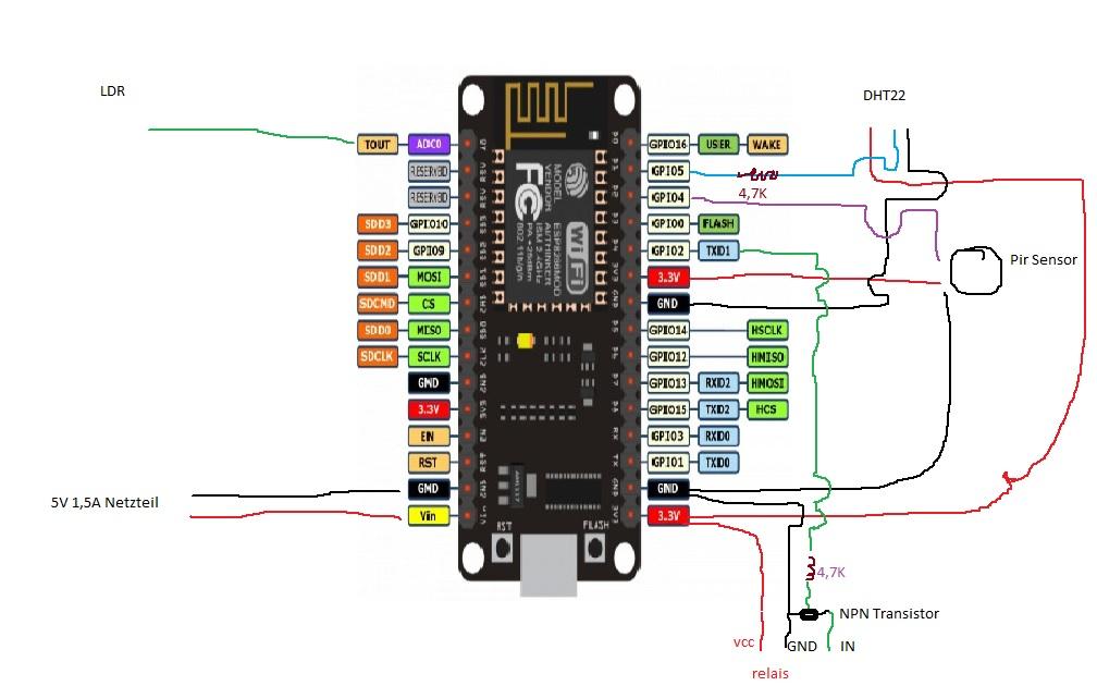 Schaltplan Relais,DHT,Pir und LDR an Nodemcu - Mikrocontroller.net
