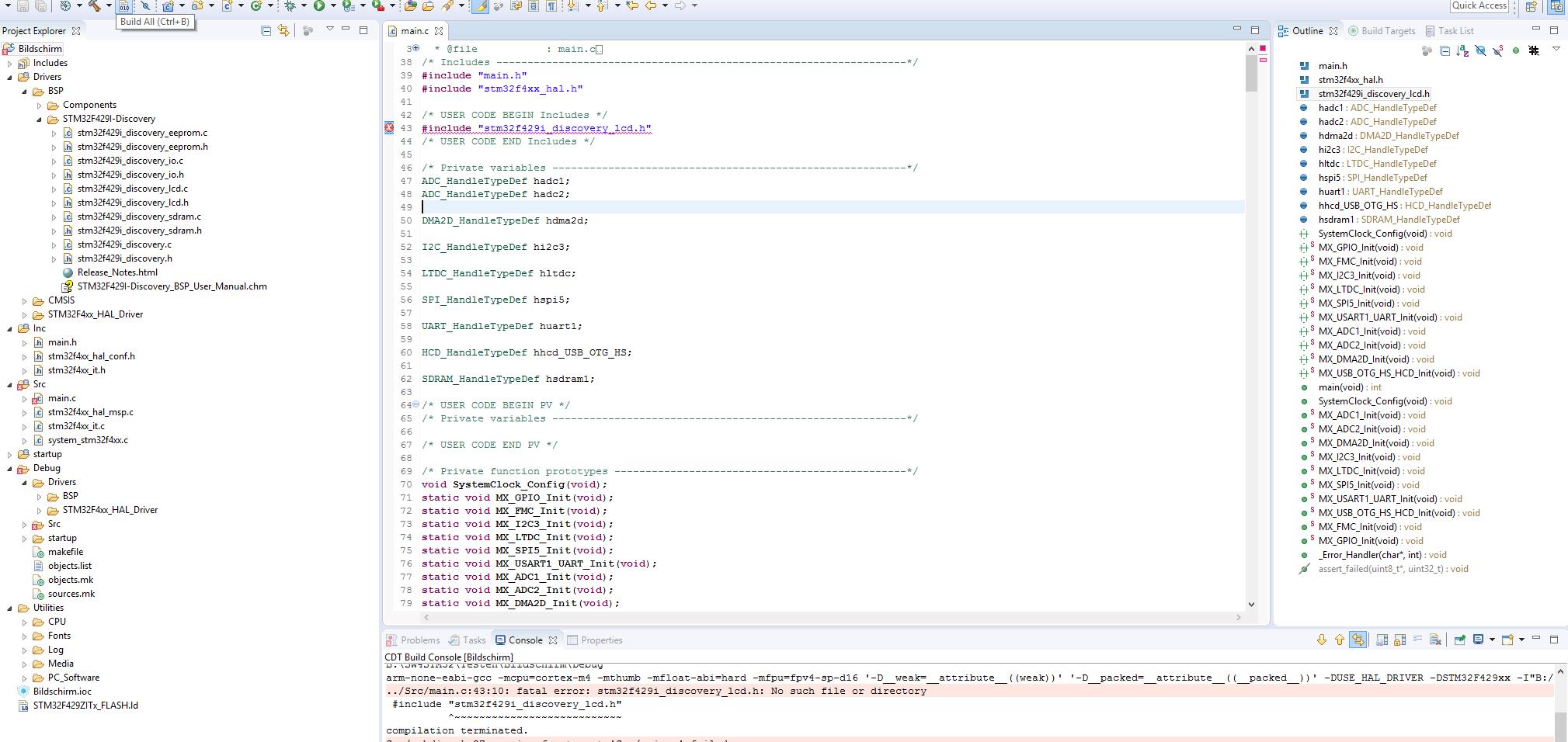 SW4STM32 und STM32F429i_Disco, Probleme beim compilieren