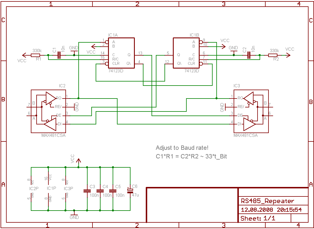 Схема повторителя 485