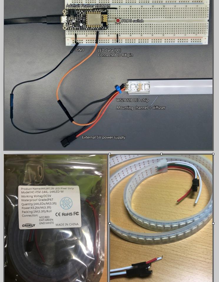 Led Streifen (WS2812B) mit Strom Versorgen und an NodeMCU