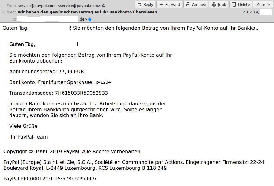 Paypal Komische Email