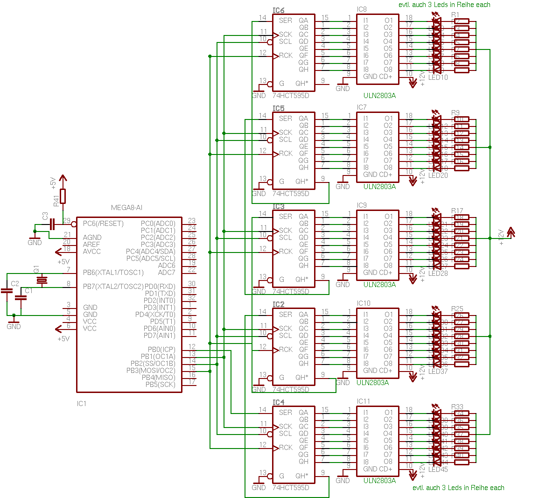 Led Bar Mit 74hct595d Und Uln2803a Schematic For The Ledmatrix Showing 4x5 Matrix Ledarray